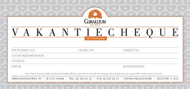 Vakantiecheque | Corallium - Reisbureau Lennik en Gooik